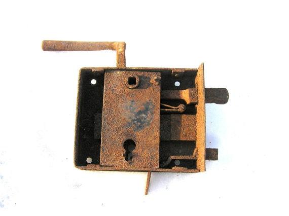 Antique Door Lock Old Door Lock 1920s/1930s, Locks Collectibles, Rusty Rustic Door Lock