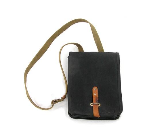 Black vintage messenger bag school bag shoulder strap bag 1940s-1950s