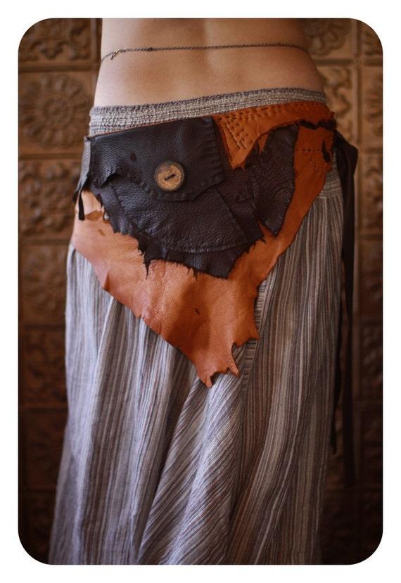 rustic hippie leather festival utility belt skirt