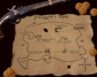 Reserved - Real Pirate Treasure Map on Leather