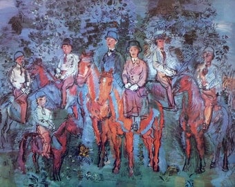Riders in the Forest, French Artist Raoul Dufy Vintage Art Print, 1966