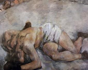 Knockout, by Luc-Albert Moreau, French Artist,1966 Vintage Art Print
