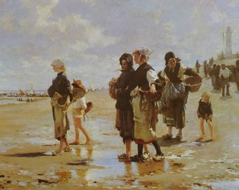 The Oyster Gatherers of Cancale, John Singer Sargent, American Artist, 1966 Vintage Art Print