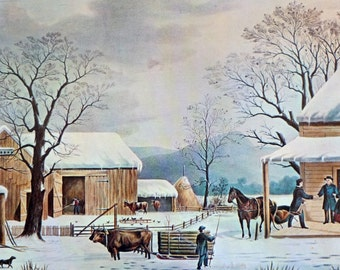 Home to Thanksgiving, by Nathaniel Currier and James Ives, American Artists, 1966 Vintage Art Print