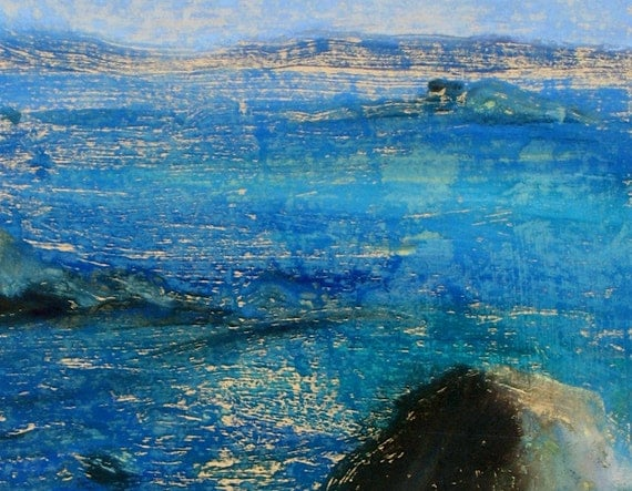 Sea painting. The Scilly Isles. Island art. Original. oil on paper