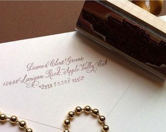 Custom Calligraphy Address Rubber Stamp