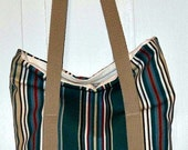 Tote Slouch Bag Green and Beige Striped