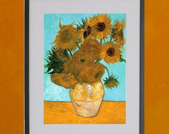 Still Life With Twelve Sunflowers, Van Gogh, 1888-1889 - 8.5x11 Poster Print - also available in 13x19 - see listing details