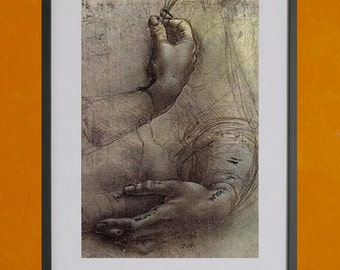 "Study of Arms and Hands, Leonardo Da Vinci, 1474 - 8.5""x11"" Poster Print"