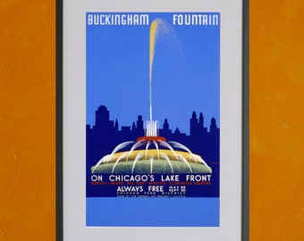 Buckingham Fountain in Chicago, 1939 -  8.5x11 Poster Print - also available in 13x19 - see listing details