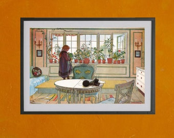 Flowers On The Windowsill, Carl Larsson, 1894 - 8.5x11 Poster Print - also available in 13x19 - see listing details