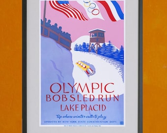 Lake Placid, New York W.P.A. Poster, 1937 - 8.5x11 Poster Print - also available in 13x19 - see listing details