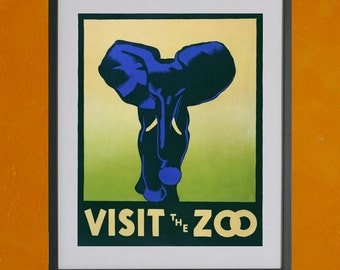 Visit The Zoo - Philadelphia Zoo W.P.A. Poster, 1937 - 8.5x11 Poster Print - also available in 13x19 - see listing details
