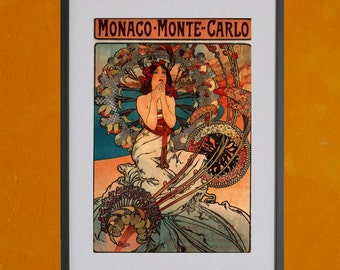 Monaco - Monte Carlo by Alphonse Mucha, 1897 - 8.5x11 Poster Print - other sizes available - see listing details