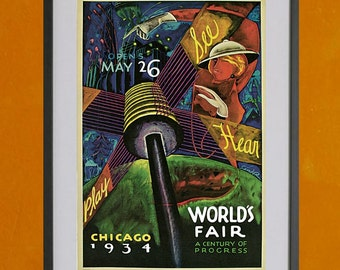 Chicago World's Fair, 1934- 8.5x11 Poster Print - other sizes available - see listing details