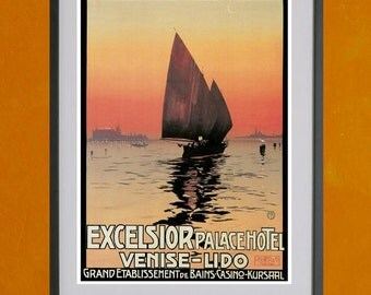 Excelsior Palace Hotel, Venice Travel Poster - 8.5x11 Poster Print - also available in 13x19 - see listing details