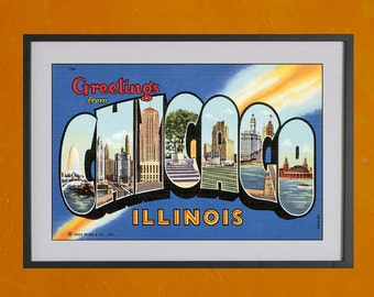 Greetings From Chicago - 8.5x11 Travel Print of Classic Postcard - also available in 13x19 - see listing details