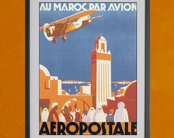 Au Maroc Par Avion - Aeropostale Poster, 1930 - 8.5x11 Poster Print - other sizes available - see listing details
