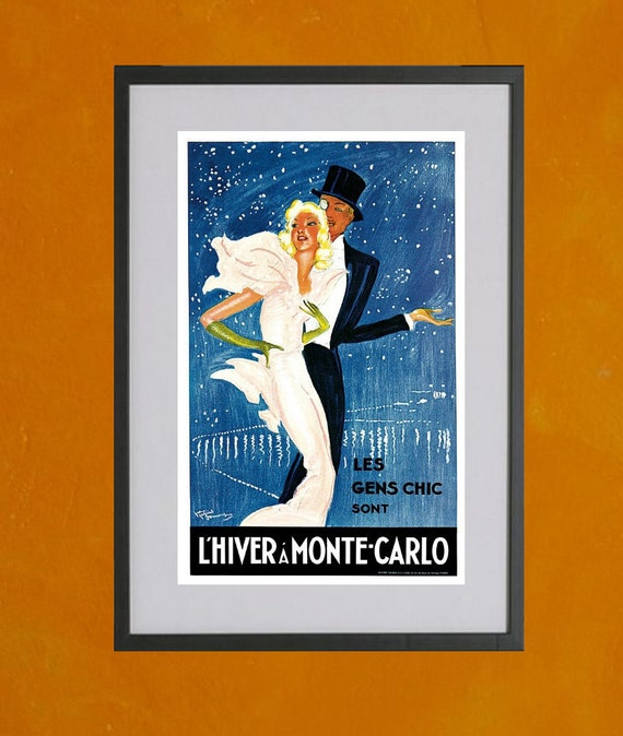 L'Hiver A Monte-Carlo, 1937 - 8.5x11 Poster Print - also available in 11x14 and 13x19 - see listing details