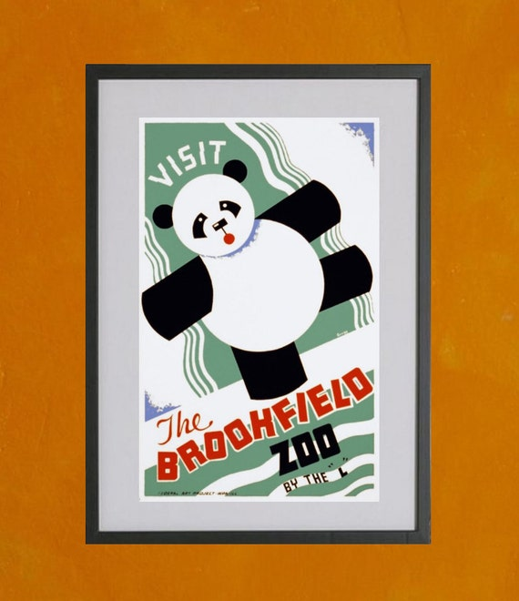 Brookfield Zoo Panda 2, 1938 - 8.5x11 Poster Print - also available in 13x19 - see listing details