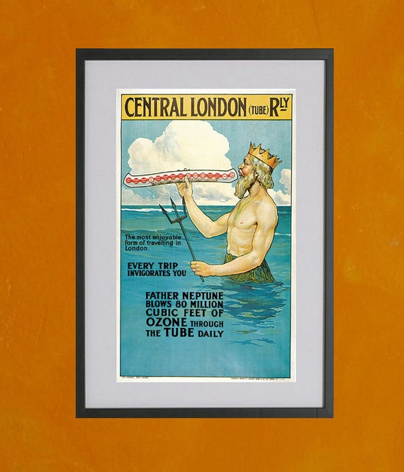 London Underground Subway Poster - Father Neptune, 1911 - 8.5x11 Poster Print - other sizes available - see listing details