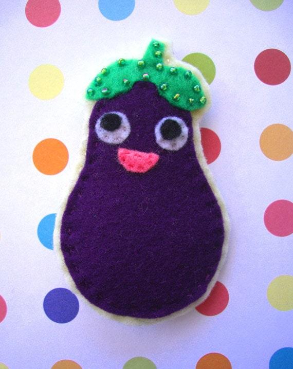 Happy Eggplant Felt Brooch