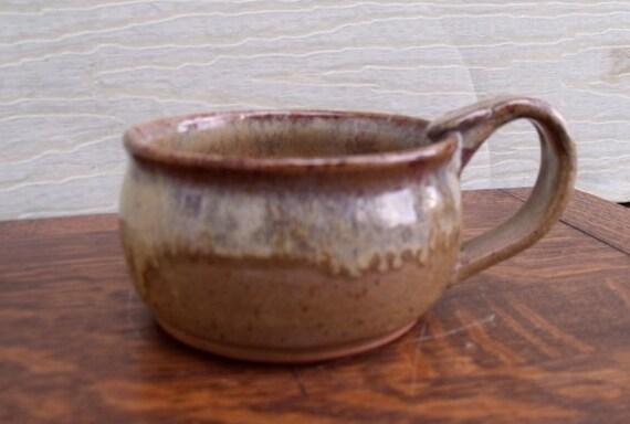 Handmade wheel thrown brown stoneware soup mug