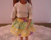 Handmade barbie two tier yellow print skirt and top.