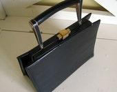 1960s Vintage Black Patent Leather Purse Handbag