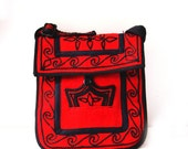 Red Wool Cross Body Tote- With Black Embroidered Designs-