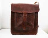 SPECIAL RUSTIC SALE- Large Leather Messenger Bag With 1 Pocket -Rustic-