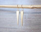 Raw Brass & 14k Gold Filled Spike Earrings