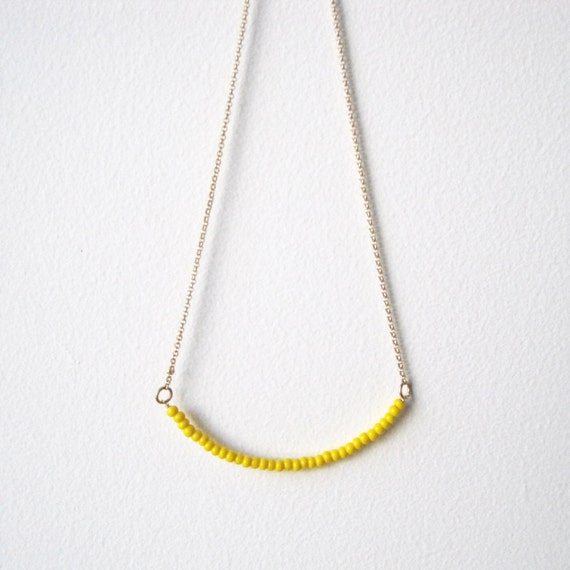 Kitrino Necklace - Bright Yellow Glass Bar, from Made By Maru