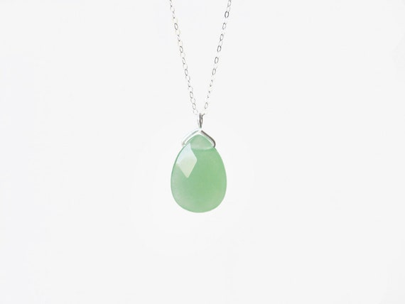 emi necklace mint chalcedony sterling silver chain