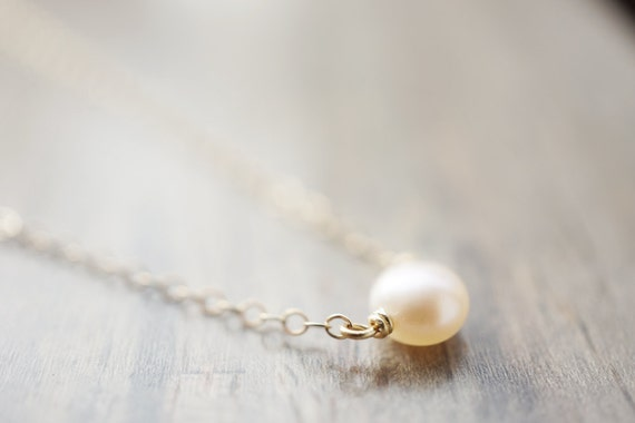 Petite Freshwater Pearl Necklace (14k gold filled chain, white or blush pink pearl)