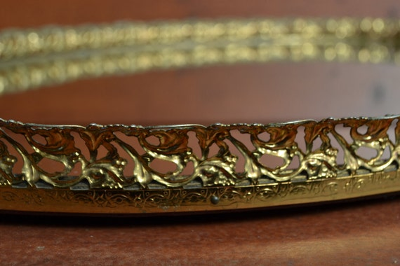 Large Oval  Vanity Mirror Tray with Gold Filigree Trim