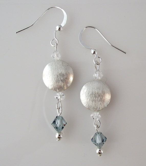 Silver Brushed Brass, Clear and Denim Blue Swarovski Crystal Earrings