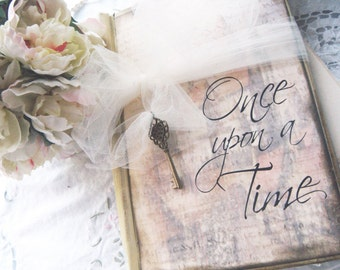 Fairy-Tale wedding Guest Book 'Once Upon a Time' in Shabby Chic Vintage Style