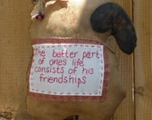 Very  Primitive Isheep pillow with friendship poem