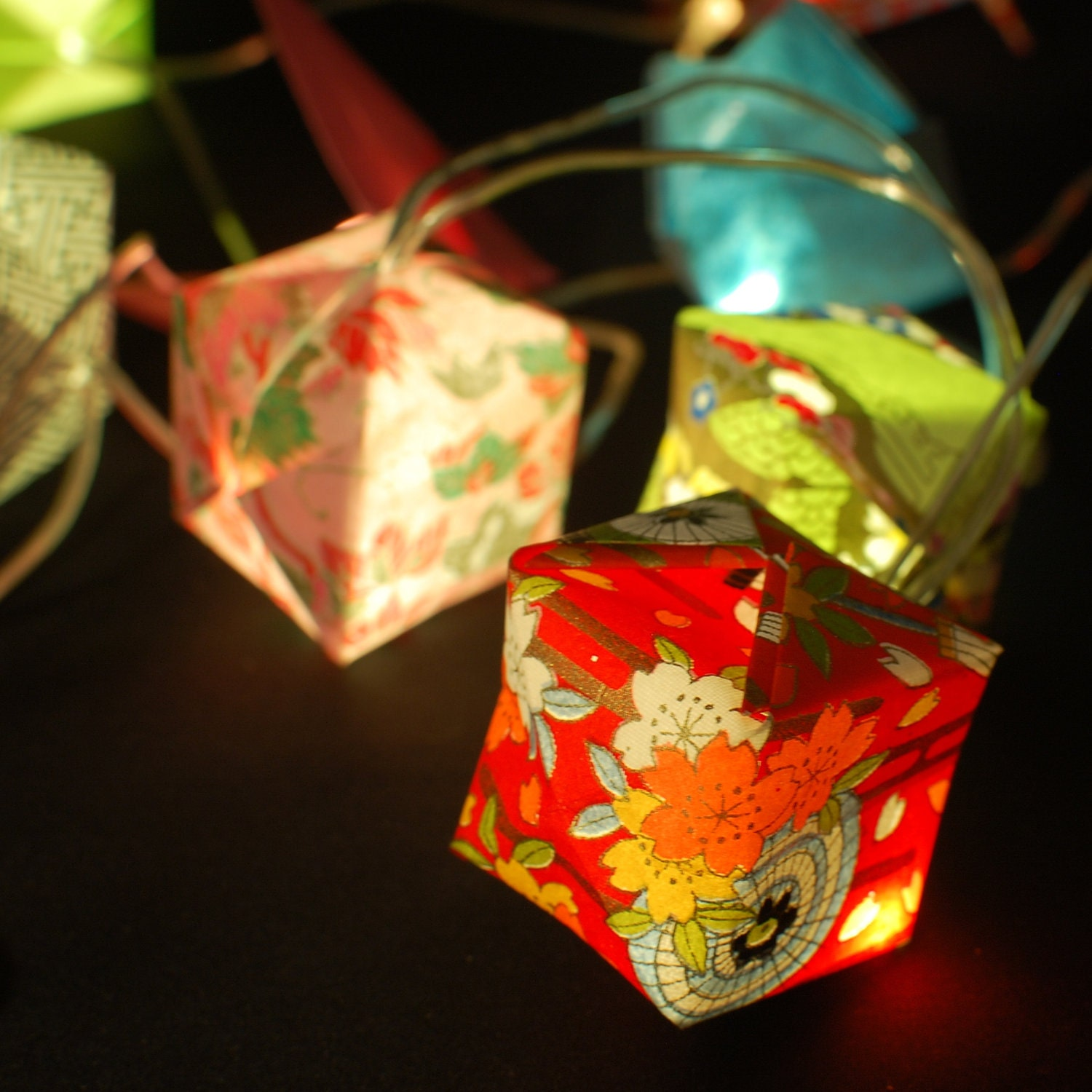 Custom Party String Lights : CUSTOM Origami fairy lights with japanese paper made by Sarigami