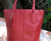 COACH Vintage Red Leather Lunch Tote Shopper Bag 4068