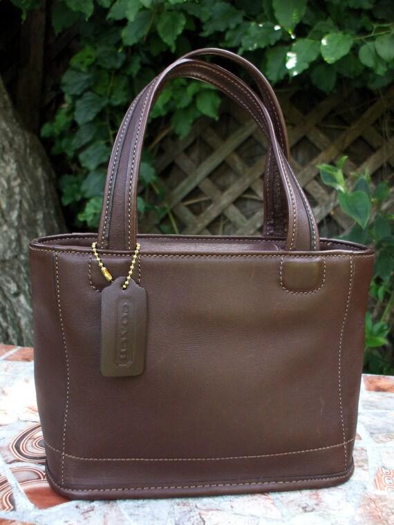 COACH Vintage Bleeker Mini Tote Bag Mahogany Brown Leather 9308