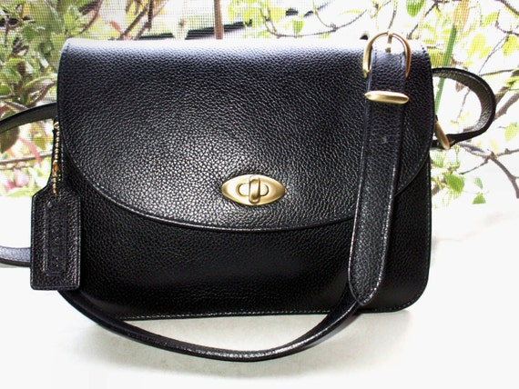 COACH Vintage 80's Madison Black Leather Spence Crossbody Messenger Bag Italy
