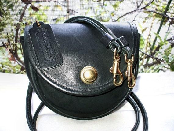 COACH Vintage 1980's Dark Green Mini Leather Sling Belt Coin Crossbody Bag