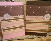 Pretty in pink and brown blank cards- Set of 2