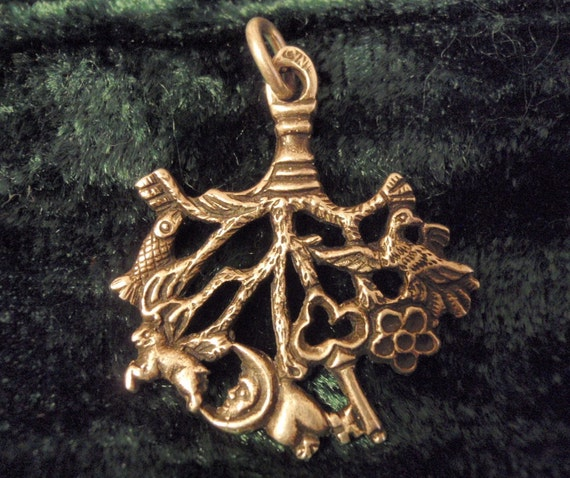 CINI CIMARUTA Pendant, Rare Witches Charm, Sterling Silver, DOUBLE Sided