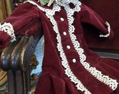 Vintage Handmade Velvet & Lace Doll Dress and Hat- American Girl Size
