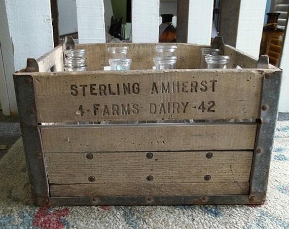 Vintage Rustic Country Primitive Milk Bottle Crate, Planter, Industrial Storage