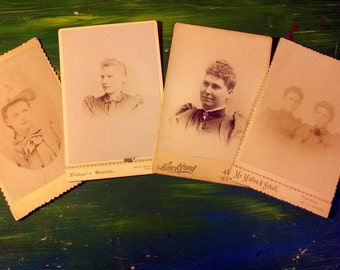 Lot of Four Antique Cabinet Cards Women 1800's
