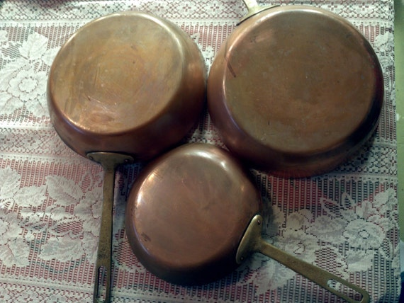 SALE Three old, vintage copper pans with brass handles